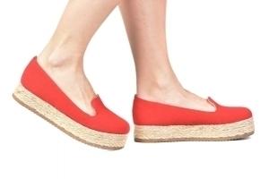 Slipper Flatform Tecido Vermelho