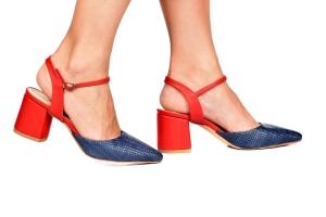 Sapato Rafia Marinho/Vermelho